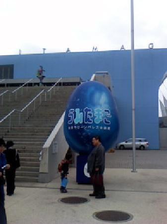 Oita, Jepang: 正面玄関の巨大なタマゴ