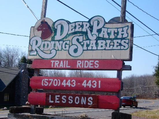 Deer Path Riding Stable: I had to get a picture of the sign, since it's such a nice day and we want it in our photo album
