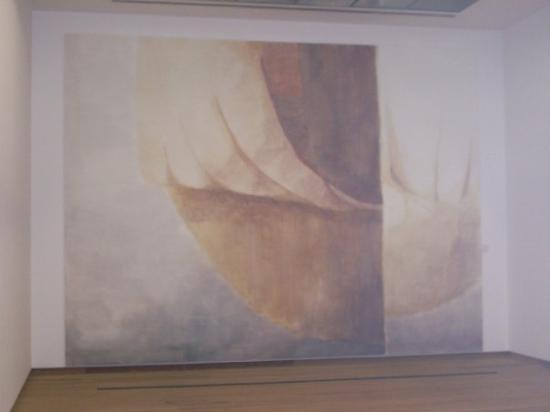 """Bonnefanten Museum: Truly a"""" wall size"""" canvas oil painting of a woman kneeding bread in the Bonnefantenmuseum"""