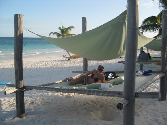 """The """"beds"""" on the beach at Suenos Tulum"""