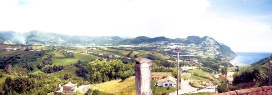 Povoação, Portugal: A stitched view from my wife's room at her mom's house.