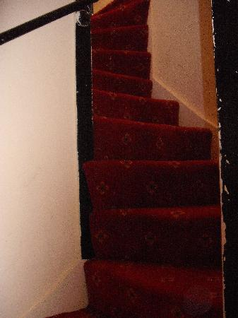 The Lismore Hotel: windy stairs leading to room
