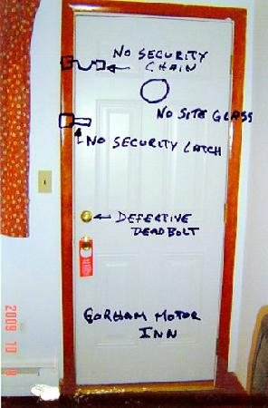 Gorham Motor Inn: Defective deadbolt,no security chain,no latch