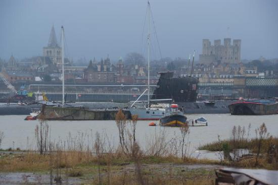 U-475 Black Widow Russian Submarine: The sub with Rochester Castle and Cathedral in the background
