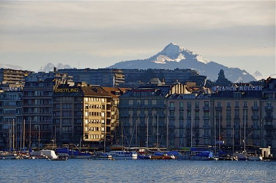 Mont Blanc features a striking background for Geneva.