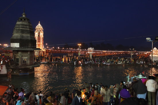 Haridwar, India: Evening Arati (prayer) during the Maha Kumbh Mela (Fair) on the banks of the River Ganges, Harid