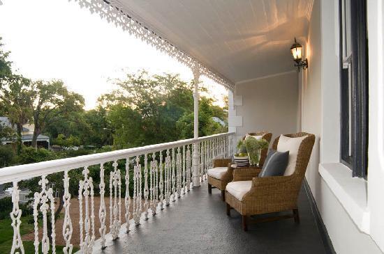 Middedorp Manor: The verandah overlooking historic Van Riebeeck Street