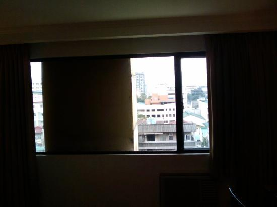 Pearl Garden Hotel: window with big chimney covering the vew