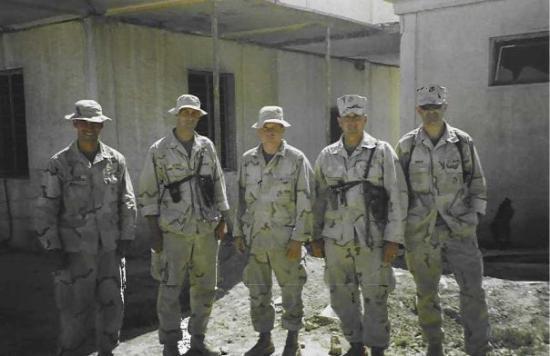 Ad-Diwaniyah, Irak: 11th Marines S-3 Shop:  Joe Diegan (AirO), Steve Berger(S-3Z), Rob Davis (S-3), Me (S-3A), Nate