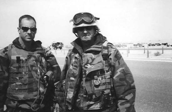The Baghdad 500:  Steve Berger & I on Hwy 8 in Southern Iraq outside of An Nasiriyah.  March 200