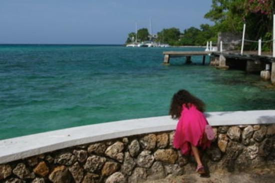 Taking a walk at the Almond Tree Restaurant in Ocho Rios, Jamaica.