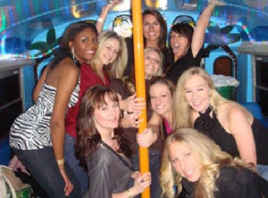Boomerang Party Bus Nightlife Tour : One of the poles on the bus!