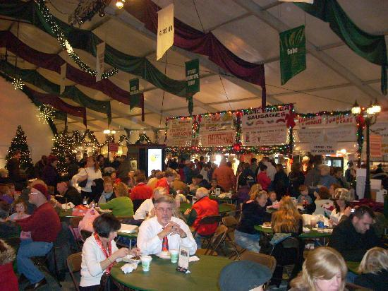 Bethlehem, PA: Market foods are lined up on both sides of the second tent