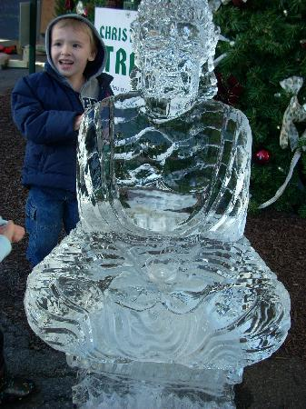 Bethlehem, PA: A child admires a freshly made ice sculpture