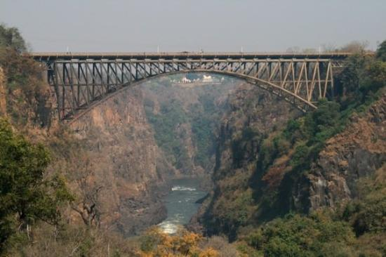 Victoria Falls Bridge: The bridge connecting Zambia to Zimbabwe.  On the right is Zimbabwe and on the left is Zambia.