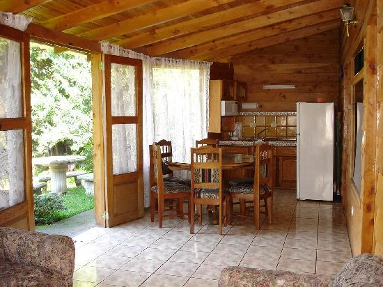 Los Pinos - Cabanas y Jardines: Livingroom & Kitchen in our Family cabins