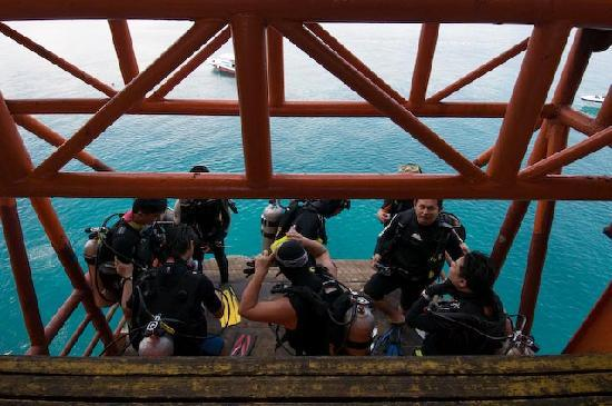 Seaventures Dive Rig: The lift lowering divers into the water