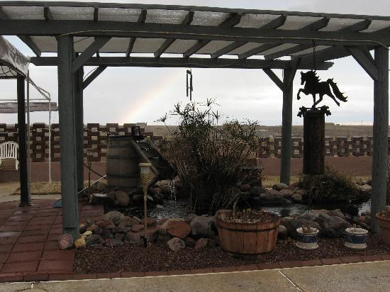 Xanadu Ranch GetAway / Private Guest Rooms / Guest Ranch & Horse Motel: rainbow over the koi pond