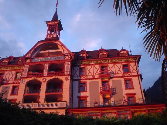 Hotel Vitznauerhof: Vitznauer Hofの夕焼け