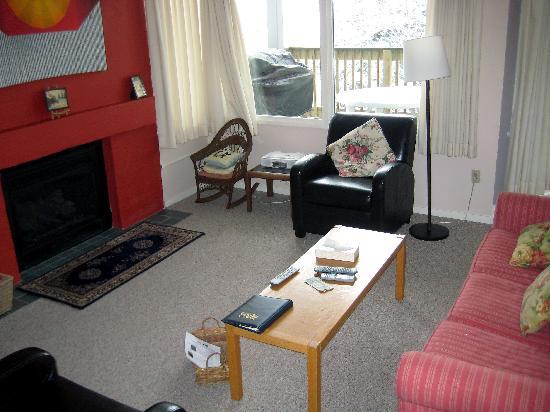 The Bridges Family Resort & Tennis Club : Living room w/ gas fireplace