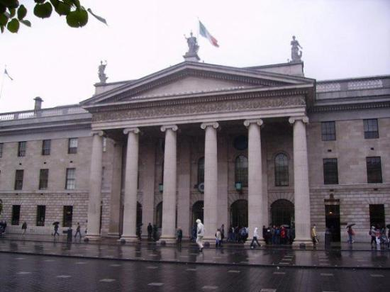 GPO & GPO Witness History Visitor Centre: The Post Office on O'Connel St. Dublin. There are still bullet holes in the pillars from the Eas