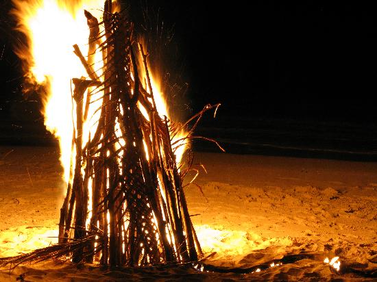 Blue Lagoon Beach Resort: Bonfire - great for clearning away cyclone debris