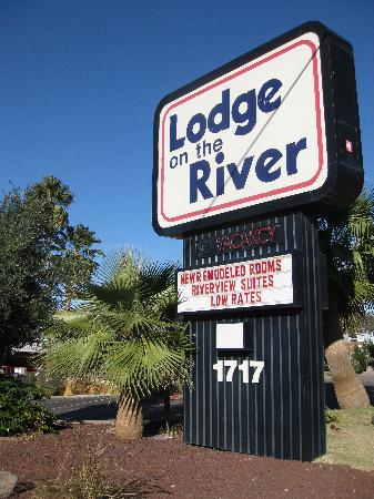 Lodge on the River: lodge sign