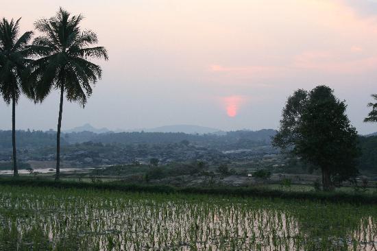Shanthi Guesthouse: Coucher de soleil de la terrasse de notre chambre