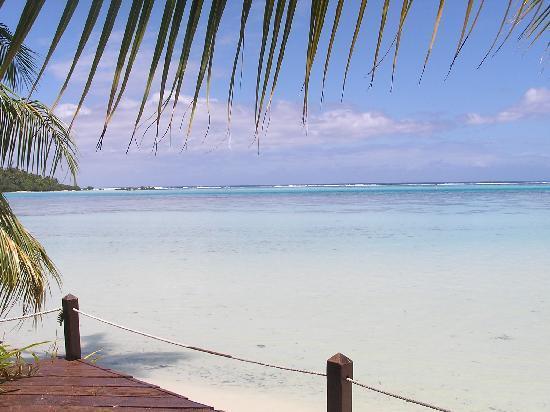 Hotel Les Tipaniers: le lagon vu du bungalow