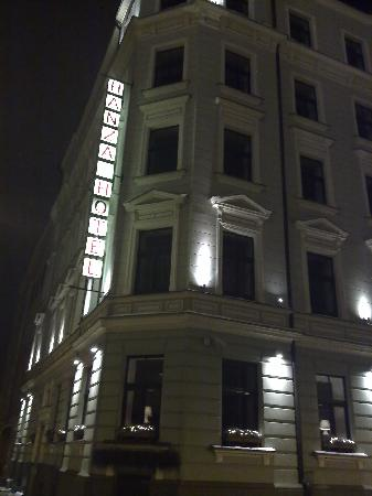 Hanza Hotel: Night view from across the street