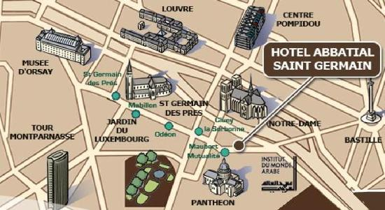 Hotel Abbatial Saint Germain: Map