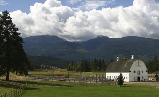 Chief Joseph Ranch: Barn and the Bitterroot Mountains