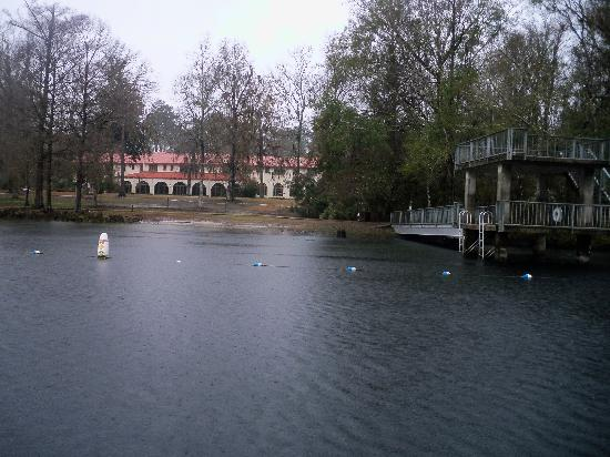 Wakulla Springs, Флорида: Back of Lodge & diving dock over spring