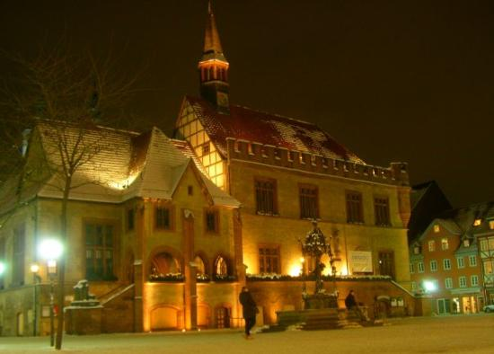 Göttingen, Alemania: Night shot of Goettingen Townhall with Gaenseliesel. This is dejavu - I studied in Goettingen al