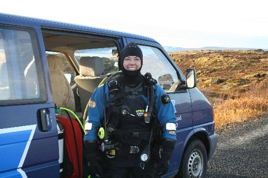Scuba Iceland: dry suit in front of the van