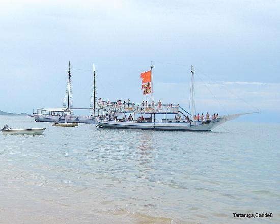 Tartaruga Beach: escunas en Tartaruga esperando los turistas