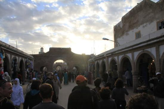 Essaouira, Morocco: Rue Mohammed Zerktouni in the Souk Jdid just before sunset.