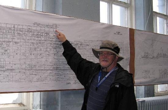 Belfast, UK : Admiring the ship design in the Titanic drawing office