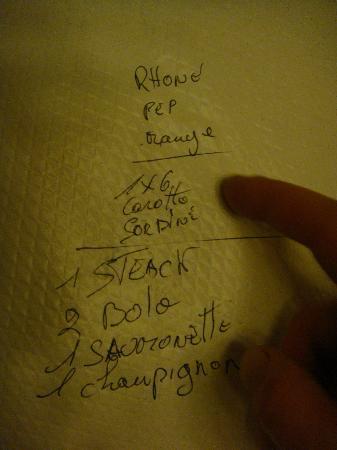 Le Bouillon Chartier: conta anotada na mesa