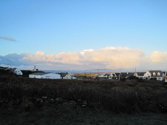 Toomullin House: View from the Wishing Well with the Aran Islands in the distance.