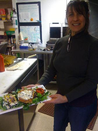 Positively 4th Street Cafe : Sharon, one of the owners with her creation.