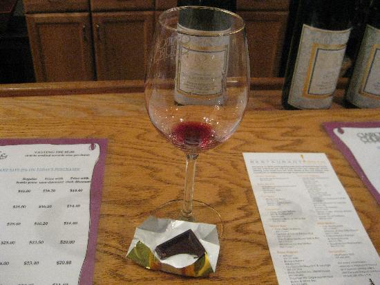 Claiborne & Churchill Winery: with a chocolate