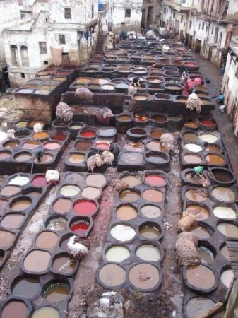 Ifrane, Morocco: Leather Souq in Fez, the oldest leather tannery in the world.