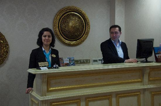 White House Hotel Istanbul: Elif and Huran on the front desk