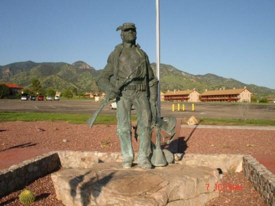 Fort Huachuca, AZ: statue of the Buffalo Soldier.  Moved from the front of the post, they say too many people held