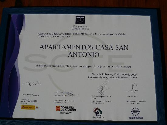 Casa San Antonio.: Certificado de Calidad Turística, de Casa San Antonio