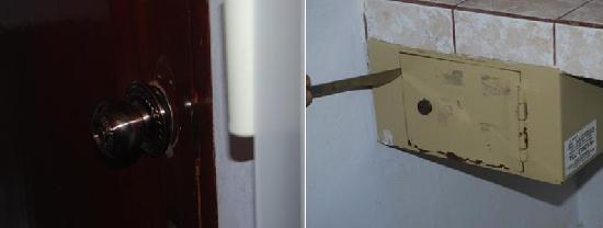 Madonna Inn: View of safe & loose door knob