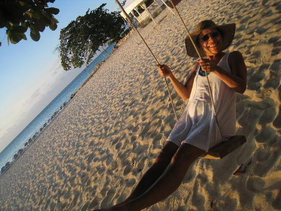 Swinging at Cornwall Beach