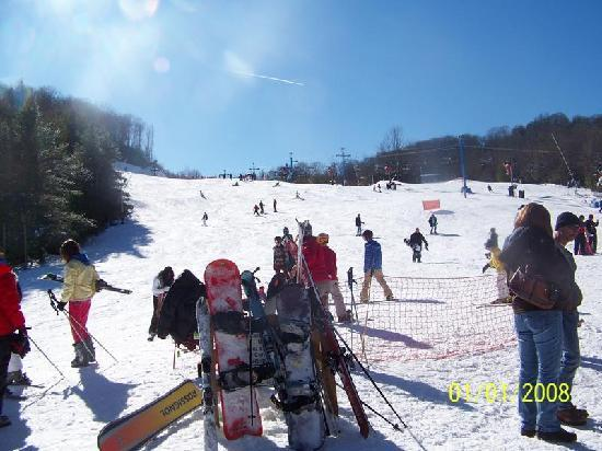 Maggie Valley, NC: looking up the beginner slopes from base