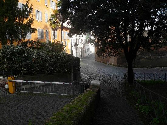 Hotel San Pancrazio: Back of hotel - down the hill towards center of village